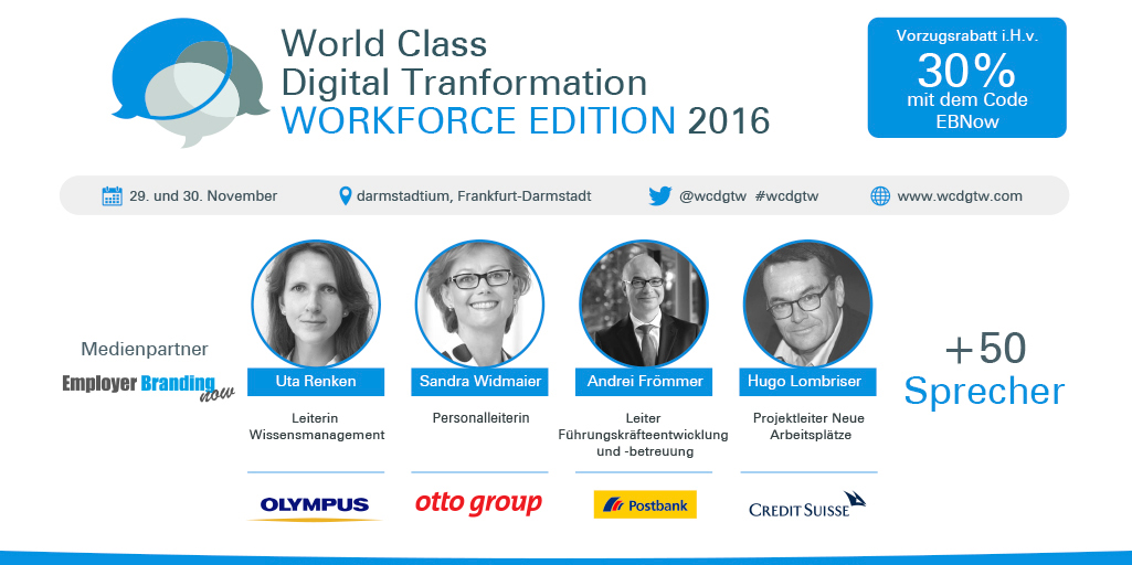 Rabattaktion WCDGTW 2016 - Employer Branding now